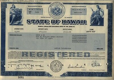 State of Hawaii Bond Stock Certificate