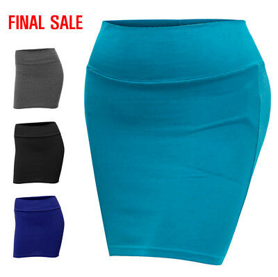 [FINAL SALE]Doublju Womens Fitted Knit Mini Skirt with Waist Band