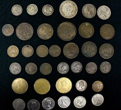 Canada Coins Canadian 25, 50 Cents Large Penny Lot of 37 Some Very Old Coin