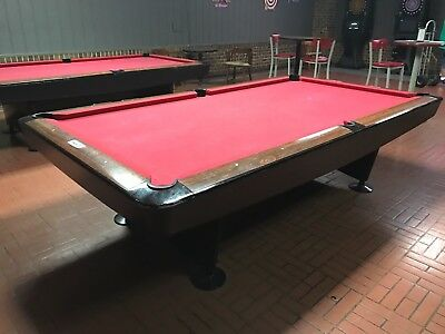 Vintage Brunswick 9u0027 Gold Crown Pool Table   Powder Coated Black   Red  Felted