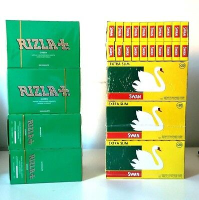 Rizla Green Regular Rolling Papers  /  Swan Extra Slim Filter Tips  Bulk Sale
