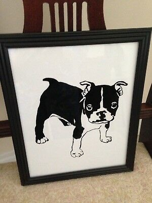Boston Terrier  -- A Painting on Glass by Artist