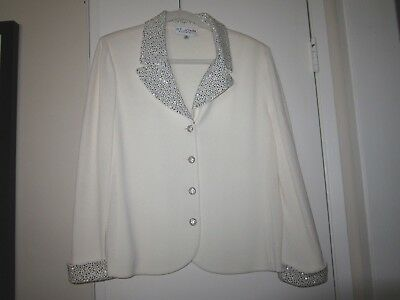 St. John Evening Ivory Cream Sweater Jacket Blazer Pewter Rhinestones Size 14
