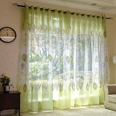Green Floral Tulle Voile Door Window Curtain Drape Panel Sheer Scarf Divider MT