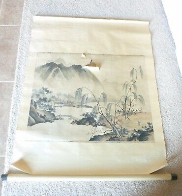 Estate Find Chinese Old Scroll Painting with HORN Scroll Ends