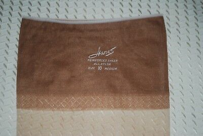 """1 Pair New 10 32"""" """"Hanes"""" Demi-Toe Barely There Vintage Nylon Stockings"""