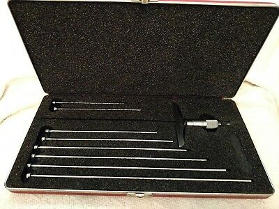 """Starrett Depth Gauge Set with Micrometer #445-M up to 12"""" Made in USA no reserve"""