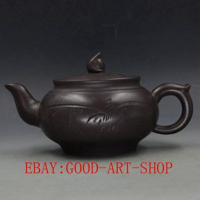 Chinese Yixing ZIsha Hand Carved Orchid Teapot Made By 66
