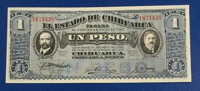 1914 $1 Choice Uncirculated Mexico LARGE SIZE Currency! Old Paper Money!