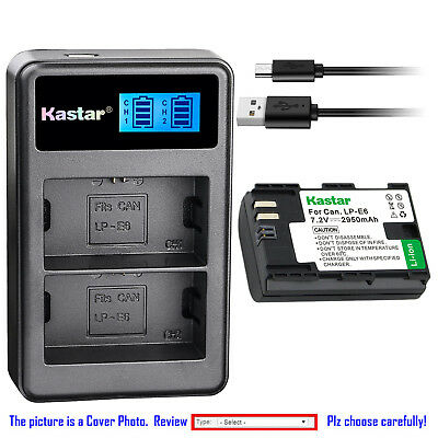 Kastar Battery LCD Dual Charger for Canon LP-E6 LPE6N LC-E6E Canon EOS 6D Camera