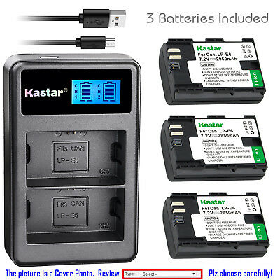 Kastar Battery LCD Dual Charger for Canon LP-E6 LPE6N LC-E6E Canon EOS 7D Camera