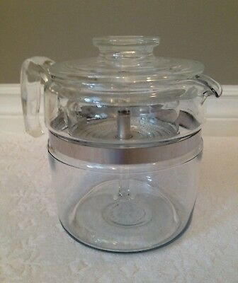 Vintage PYREX '52-79; FLAMEWARE Near-Complete Coffee Percolator; 6-Cup 7756