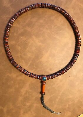 OLD Tibetan mala necklace turquoise coral silver inlay prayer beads Nepal