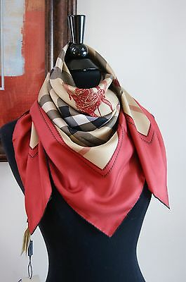 New Authentic Burberry Large Beige Horseferry Check Red Silk Scarf