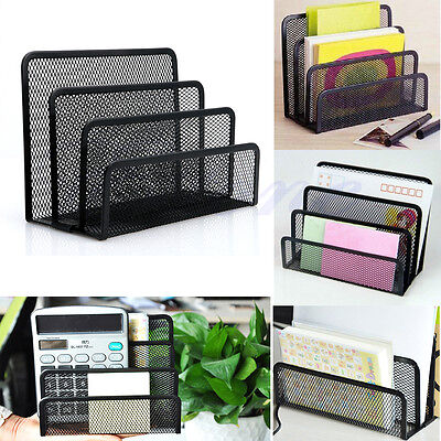Mesh Letter Sorter Mail Document Tray Desk Office File Organiser Holder GOOD