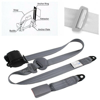 Gray Car SUV Racing 3Point Front Safety Automatic Retractable Lap Seat Belts Kit