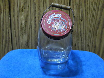 Vintage Large Clear Glass Jar With Wire Bail Wood Handle 2.5 Gallon