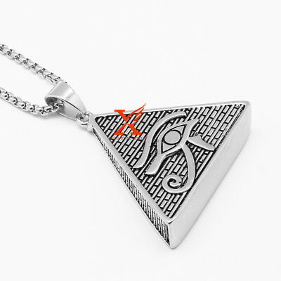 "24"" Stainless Steel Silver Eye Pyramid  Freemason Pendant Necklace 3mm Box Chain"