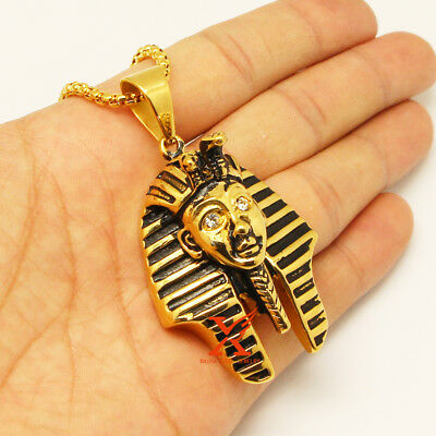 """24"""" Stainless Steel Black Gold Big Pharaoh King Tut Pendant Necklace 3Mm Chain"""
