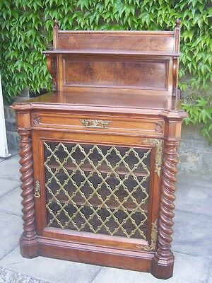 A Victorian Gothic Walnut And Brass Cabinet By Collinson & Lock Of London