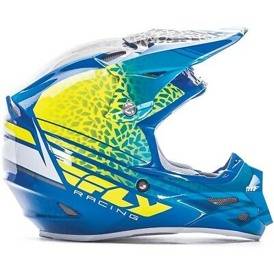 Fly Racing 2017 Mx NEW F2 Animal Yellow Blue White Carbon Fiber Motocross Helmet