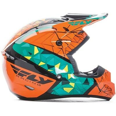 Fly Racing 2017 Mx NEW Kids Kinetic Crux Teal Orange Youth Motocross Helmet