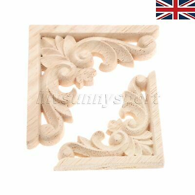 Decorative Wood Carved Corner Decal Wooden Applique Furniture Decoration 2 Size