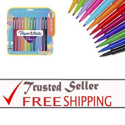 Paper Mate Flair Felt Tip Pens Medium Point Assorted Colors 12-Count Medium Tip