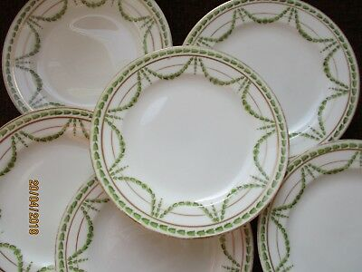 George Jones Crescent china Green and gold swags 15 cm Side plates x 6