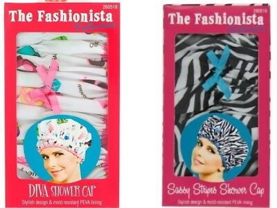 Betty Dain The Fashionista Lining Shower Cap DIVA / SASSY STRIPES-FREE SHIPPING!