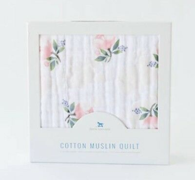 Little Unicorn Brushed Muslin Quilt Watercolour Rose Cot Blanket Breathable