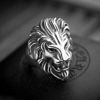 Stainless Steel Lion's Head Ring Men's Vintage Cool Ring American Size Best New