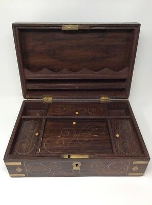 Antique Wooden Brass Bound Writing Stationery Box 36 x 22.5 x  23 cms