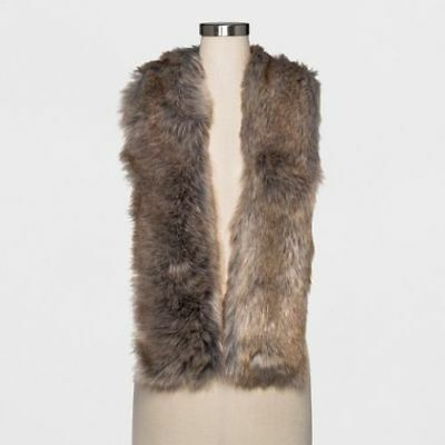 A New Day Target Faux Fake Fur Scarf Stole Wrap NWT Brown / Grey