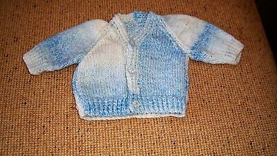 New Hand  Knitted Baby Cardigan  Blue  Multi Colourd Newborn