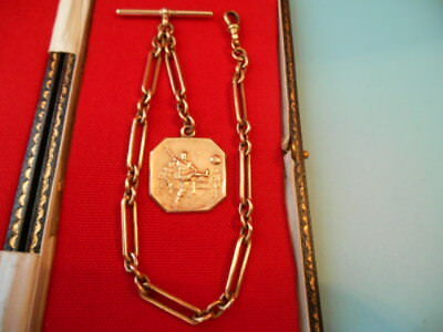 ANTIQUE 18ct ROLLED GOLD ALBERT CHAIN & FOOTBALL FOB NOT SCRAP 37gms