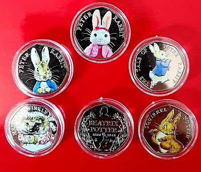 Beatrix Potter 50p Coins Uncirculated Coloured coin collection