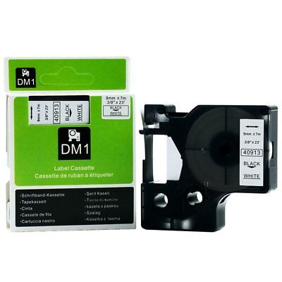 "1 Pack 9mm Black On White Label Maker Tape for DYMO D1 40913 41913 3/8"" Cartridg"