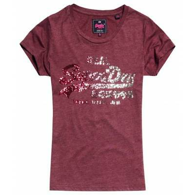 T-shirt Superdry vintage logo sequin entry burgundy