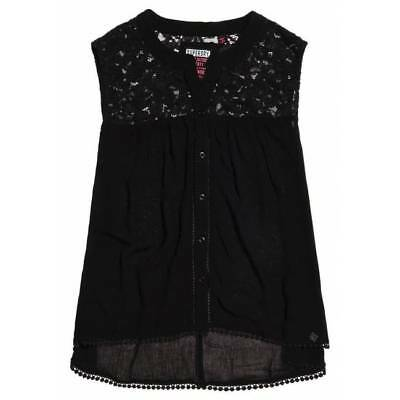 Top Superdry bobbie button noire