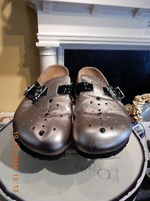 Betula Gold Leather Slides W/ Silver & Black Accents In Euro Size 280 L12 / M10