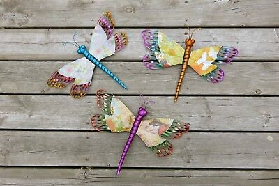 2 Metal Dragonfly Wall Plaques Dragonflies Home Decor Modern Retro  16 In.  New