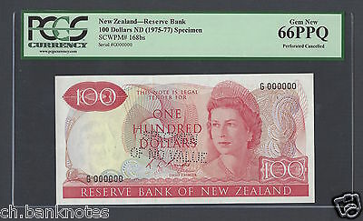New Zealand 100 Dollar 1975-77 P168bs R.L.Knight Specimen Perforated  UNC