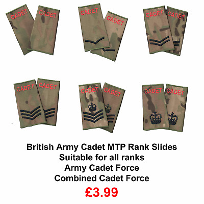 ACF / CCF Army & Combined Cadet Force Rank Slides MTP PAIR