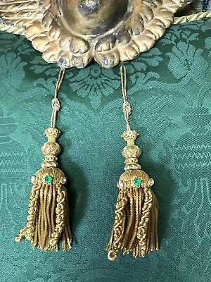 Two Jeweled Gold Metallic Tassels French Caterpillar Passementerie