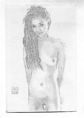 Nude Original Classic Art Female Sexy Woman Naked Pencil Drawing NANE