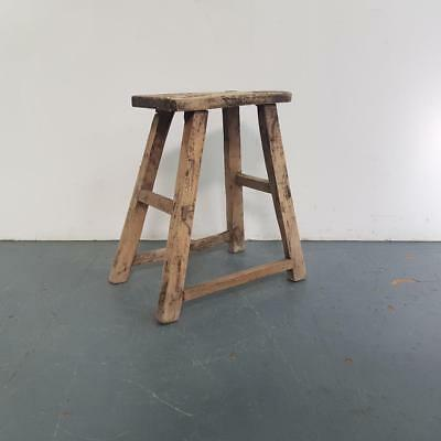 VINTAGE RUSTIC ANTIQUE WOODEN STOOL MILKING EXTRA LARGE No L213