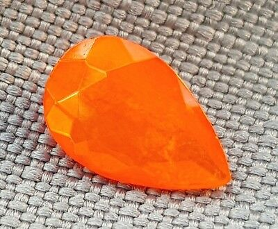 WaterfallGems Mexican Fire Opal Pear, 9.6x6.3mm, 0.76ct