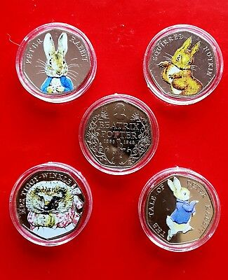 Beatrix Potter 50p Coins Uncirculated Coloured Set