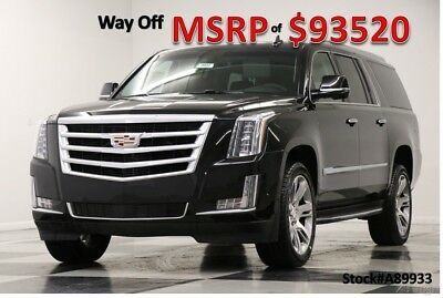 Cadillac Escalade MSRP$93520 4WD ESV Luxury Premium DVD Black 4X4 New Navigation Heated Cooled Leather GPS Navigation Sunroof 17 2017 18 22 in Rim